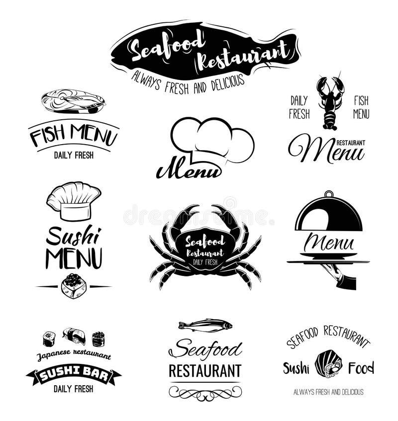 Ресторан морепродуктов Дизайн меню Ярлыки и еда и пить значков Краб, омар, креветка, семга свертывает суши иллюстрация штока