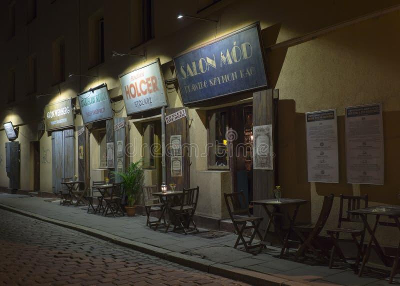 Ресторан на улице Szeroka - Кракове стоковое изображение