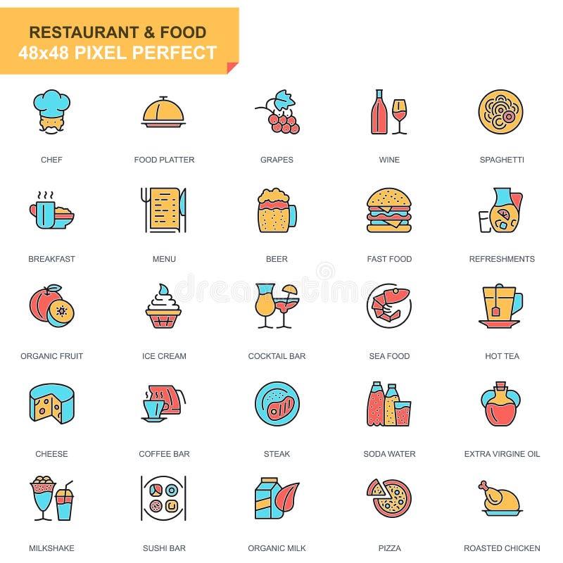 Ресторан с плоской линией и кулинарные иконки для веб-сайта, мобильного сайта и приложений бесплатная иллюстрация