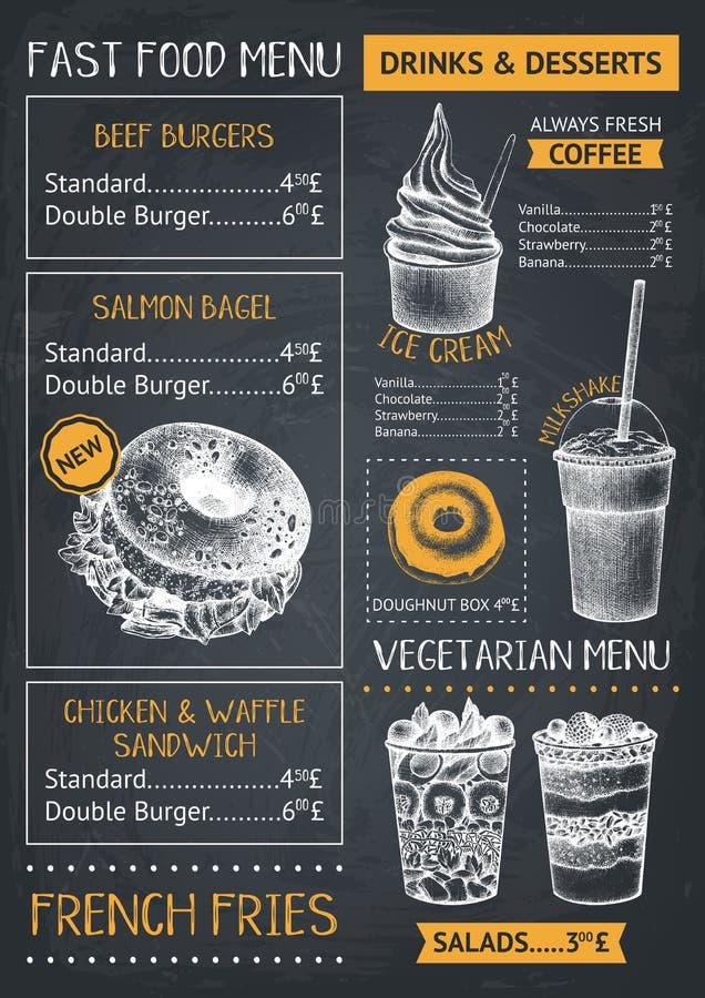 Ресторан фаст-фуда или шаблон меню кафа Бургеры руки вычерченные, десерты и иллюстрации напитков Дизайн летчика тележки еды на ch иллюстрация вектора
