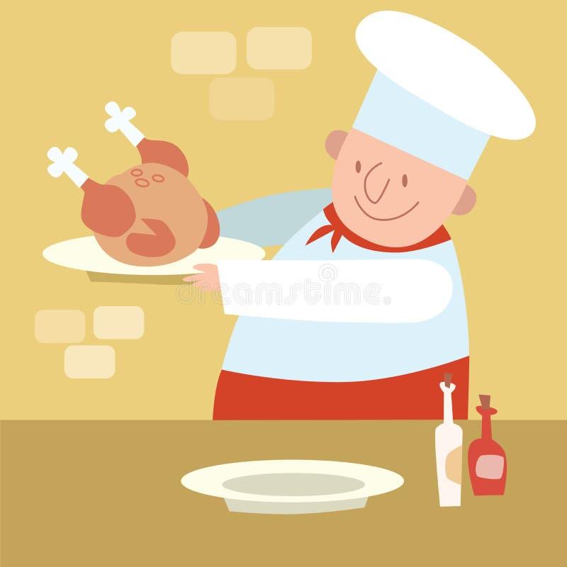 Ресторан шеф-повара в кухне варя цыпленка птицы иллюстрация штока