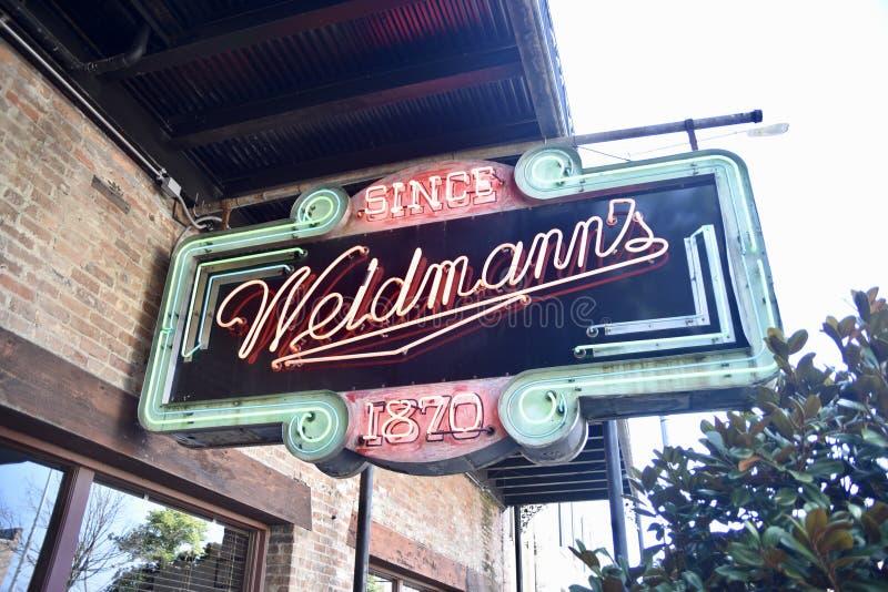 Ресторан Weldmann, меридиан, Миссиссипи стоковые фотографии rf
