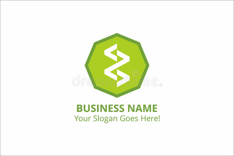 Ресурс вектора зеленого цвета логотипа шаблона дела зигзага стоковые изображения