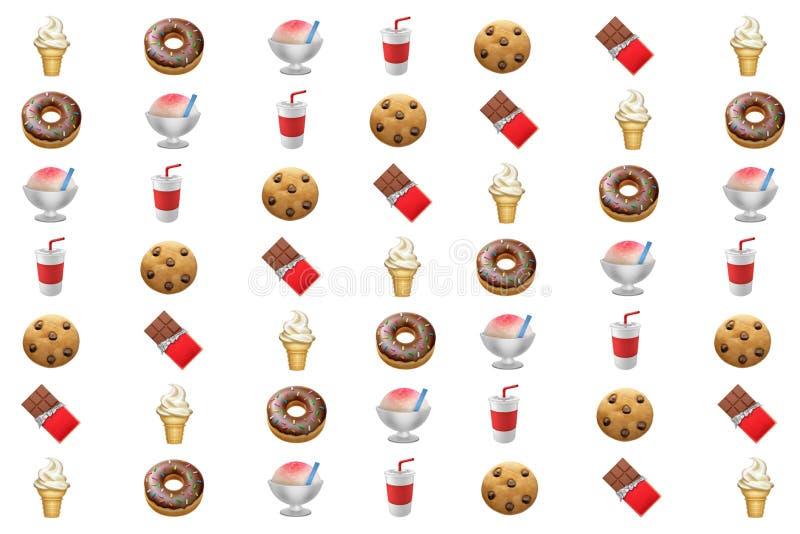 Ресурс еды старья нездоровой высокой калории приторный графический иллюстрация вектора