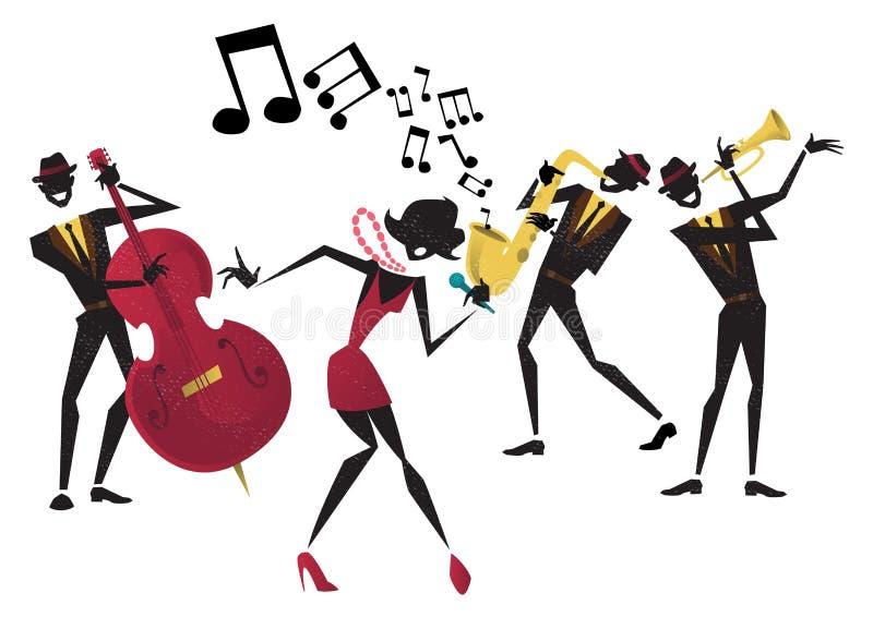Ретро абстрактный плакат джазового фестиваля иллюстрация вектора