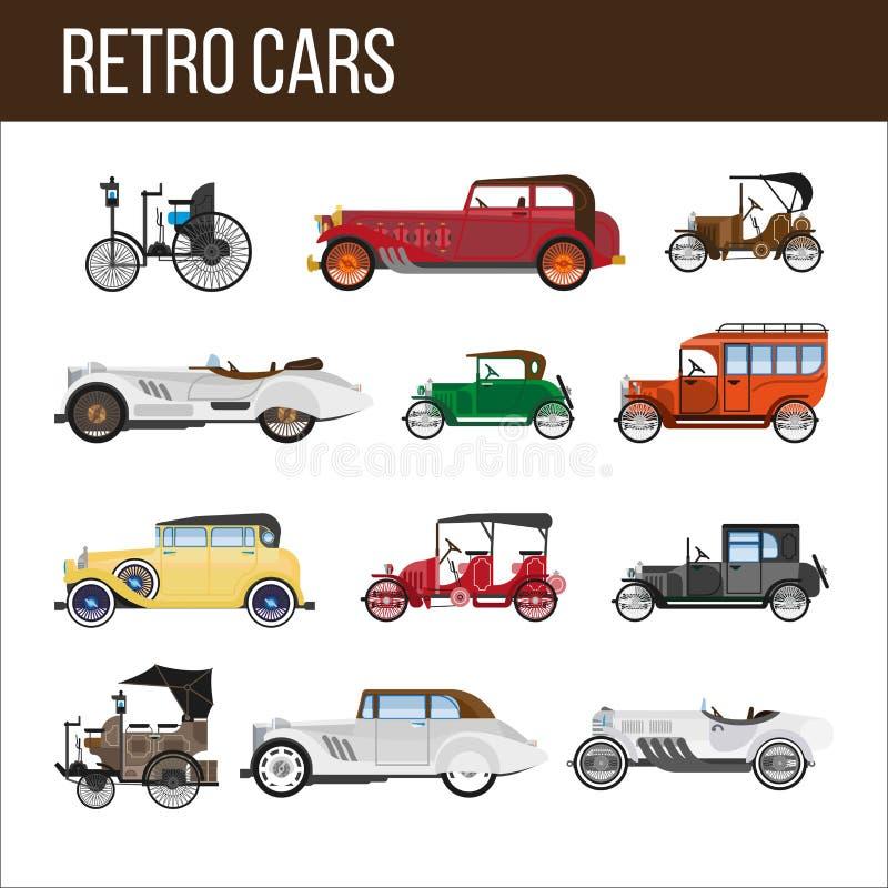 Ретро автомобили при изумительные винтажные установленные illlustrations дизайна иллюстрация вектора