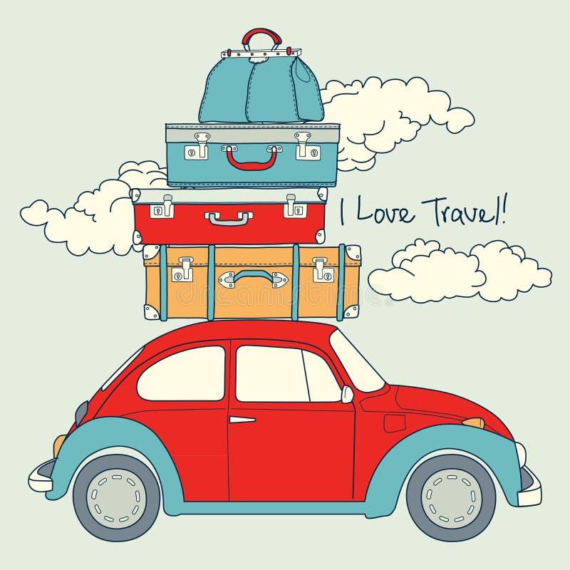 Ретро автомобиль нагруженный для путешествовать иллюстрация штока