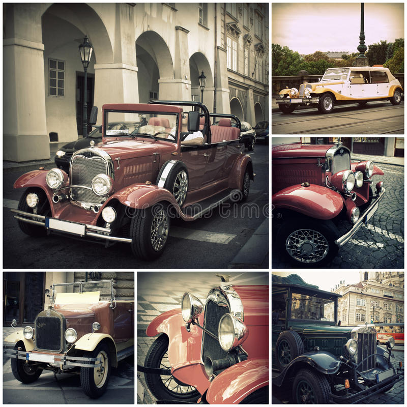 Ретро автомобиль на улицах Праги Классические винтажные корабли стоковые изображения