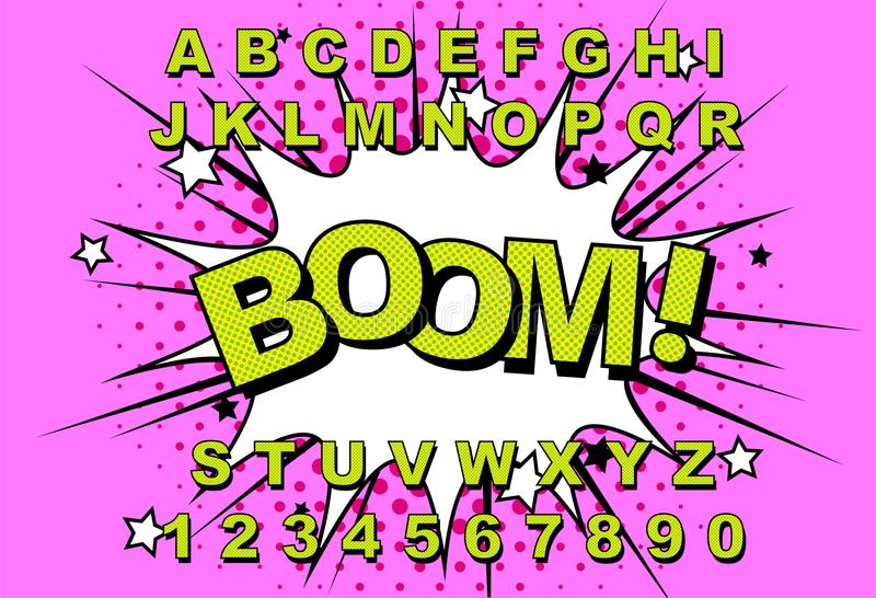 Ретро алфавита шуточное иллюстрация штока