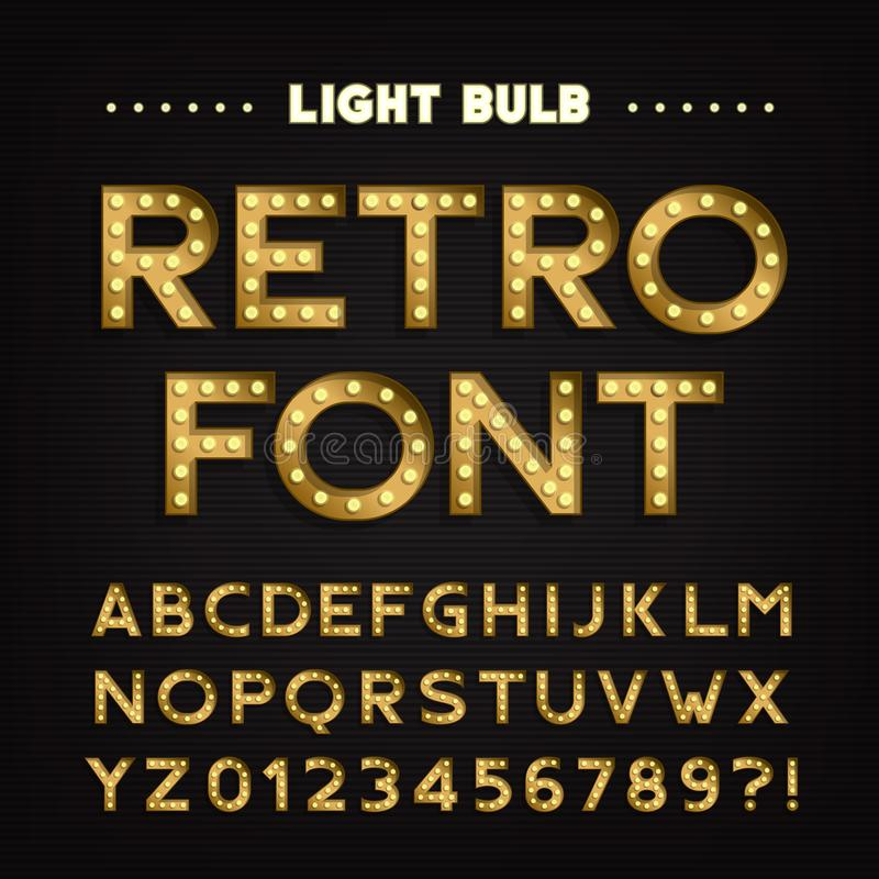 Ретро алфавит знака Винтажный тип письма и номера электрической лампочки Шрифт шильдика иллюстрация штока