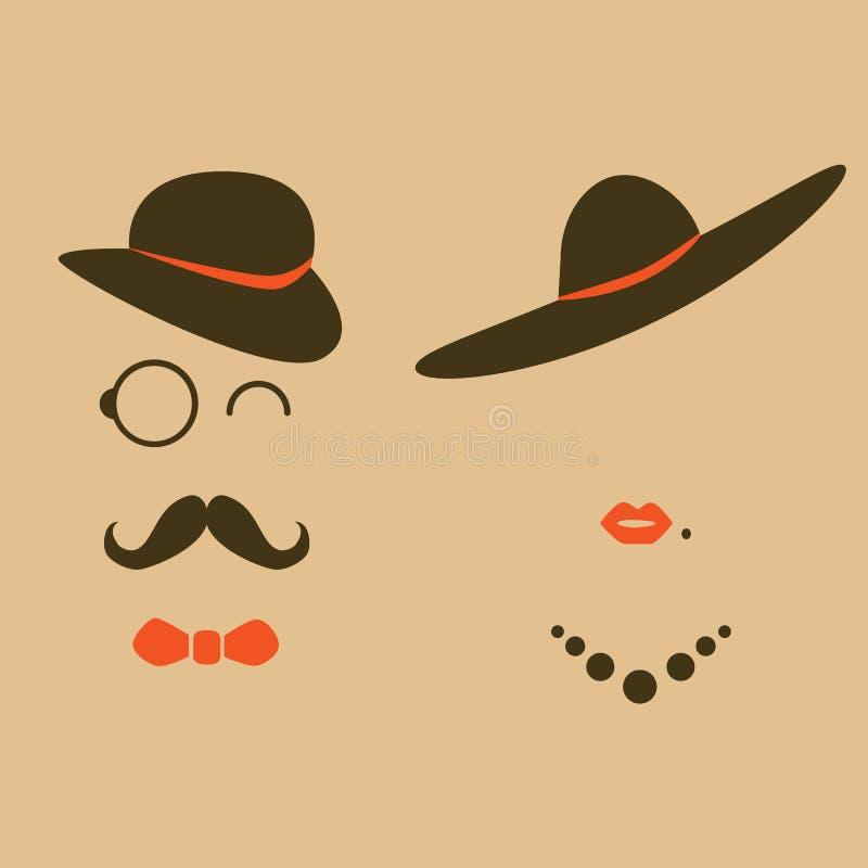 Ретро дама и джентльмен битника иллюстрация вектора