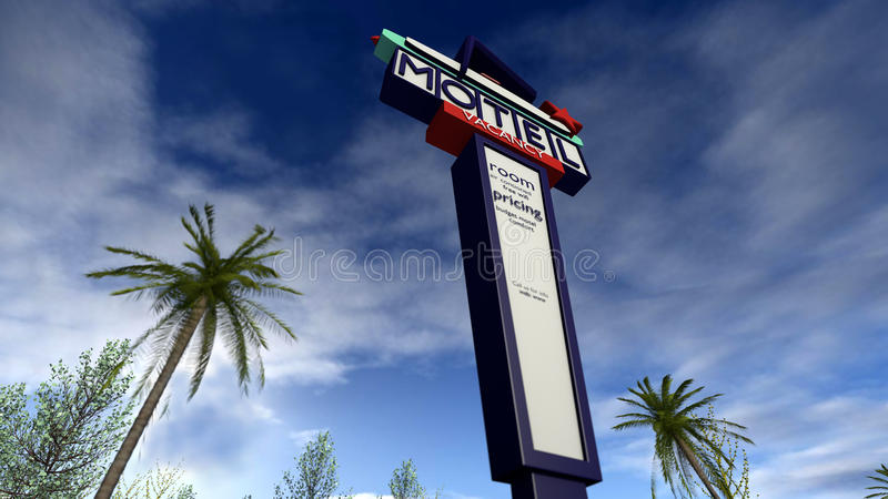 Ретро американский знак мотеля иллюстрация штока