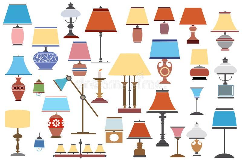 Ретро античные лампы, иллюстрация штока