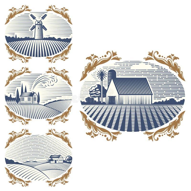 Ретро ландшафты vector чертеж графической сельской местности земледелия дома фермы иллюстрации сценарный античный иллюстрация штока