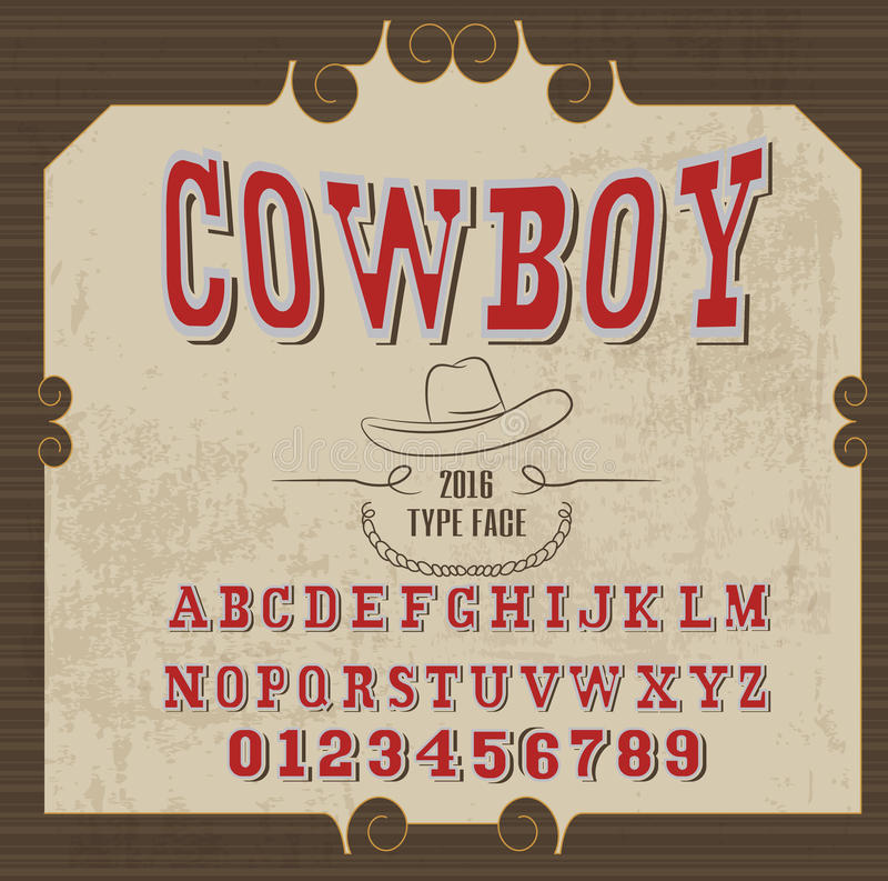 Ретро алфавит в западном стиле, стиле ковбоя, шрифте вектора для ярлыков бесплатная иллюстрация