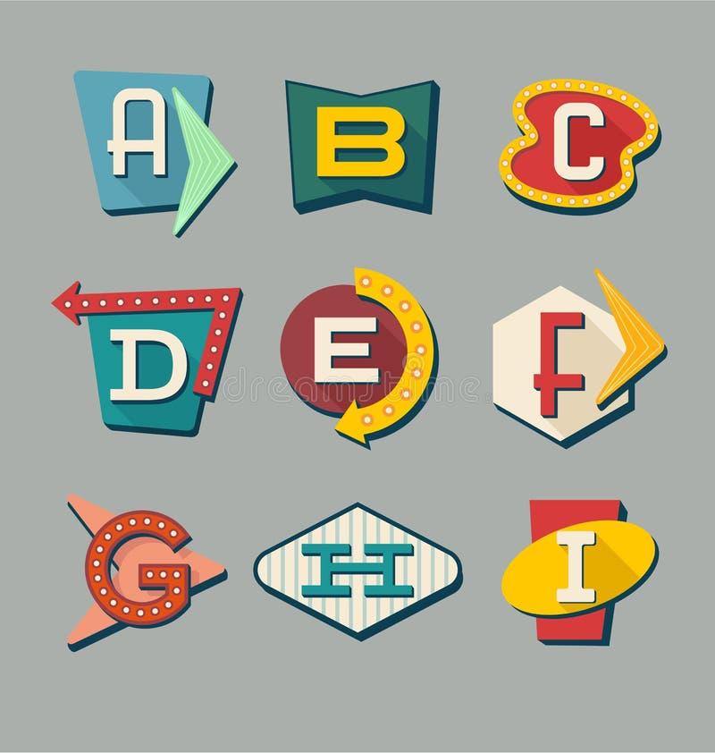 Ретро алфавит знаков Письма на винтажных знаках стиля иллюстрация штока