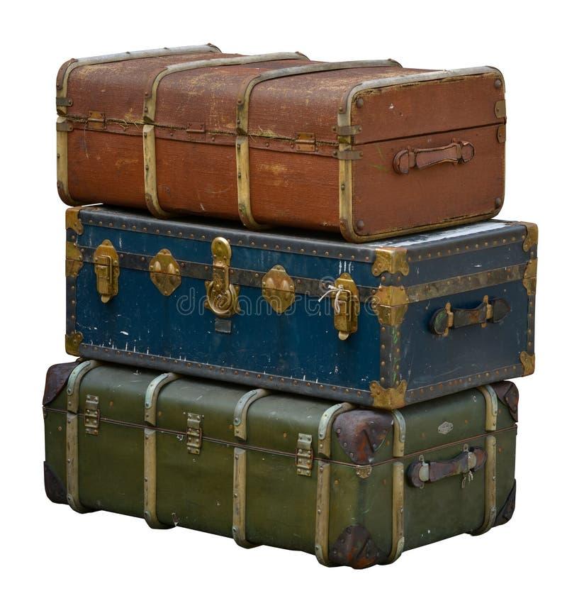 Ретро багаж изолированный на белизне стоковое фото