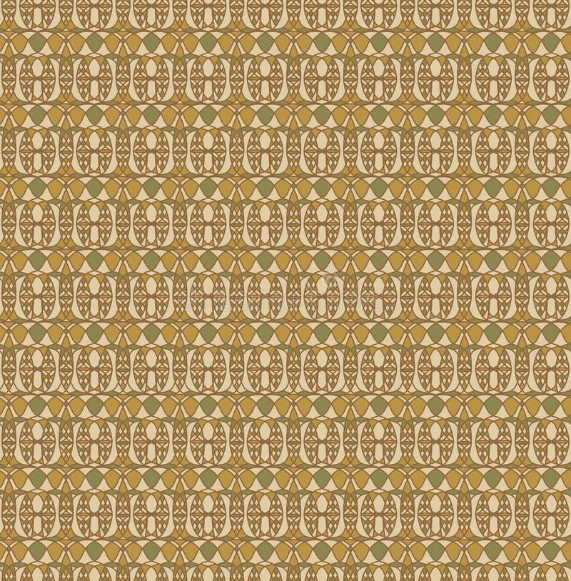Ретро безшовная картина, предпосылка Брайна желтая cream зеленая стоковое изображение