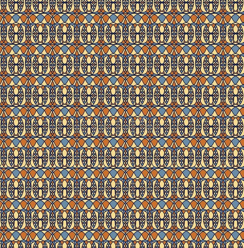 Ретро безшовная картина, предпосылка сини оранжевого желтого цвета бесплатная иллюстрация