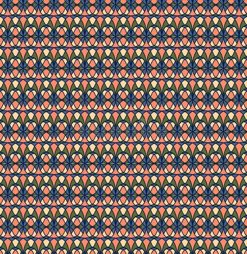 Ретро безшовная картина; Сливк, пинк, зеленый цвет, голубая предпосылка бесплатная иллюстрация