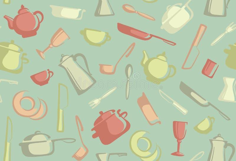 Ретро безшовная предпосылка изделий кухни бесплатная иллюстрация