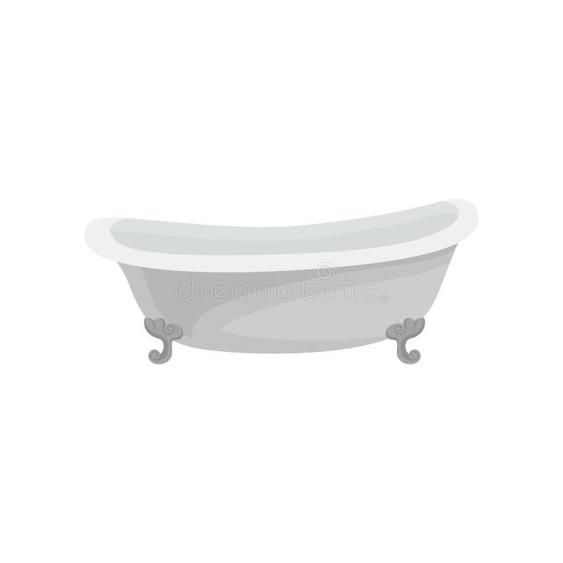 Ретро белая ванна, иллюстрация вектора мебели ванной комнаты на белой предпосылке иллюстрация вектора