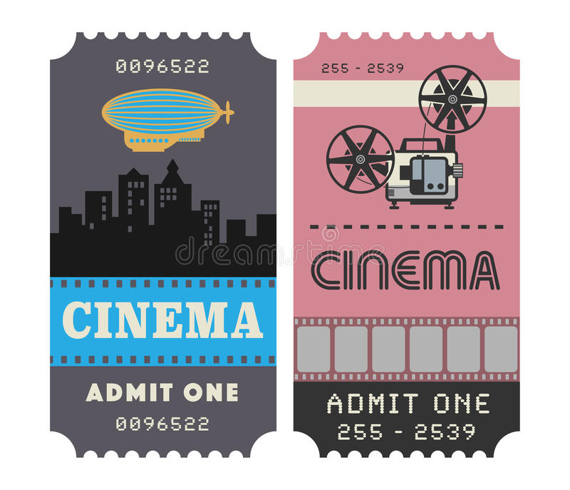 Ретро билет кино иллюстрация вектора