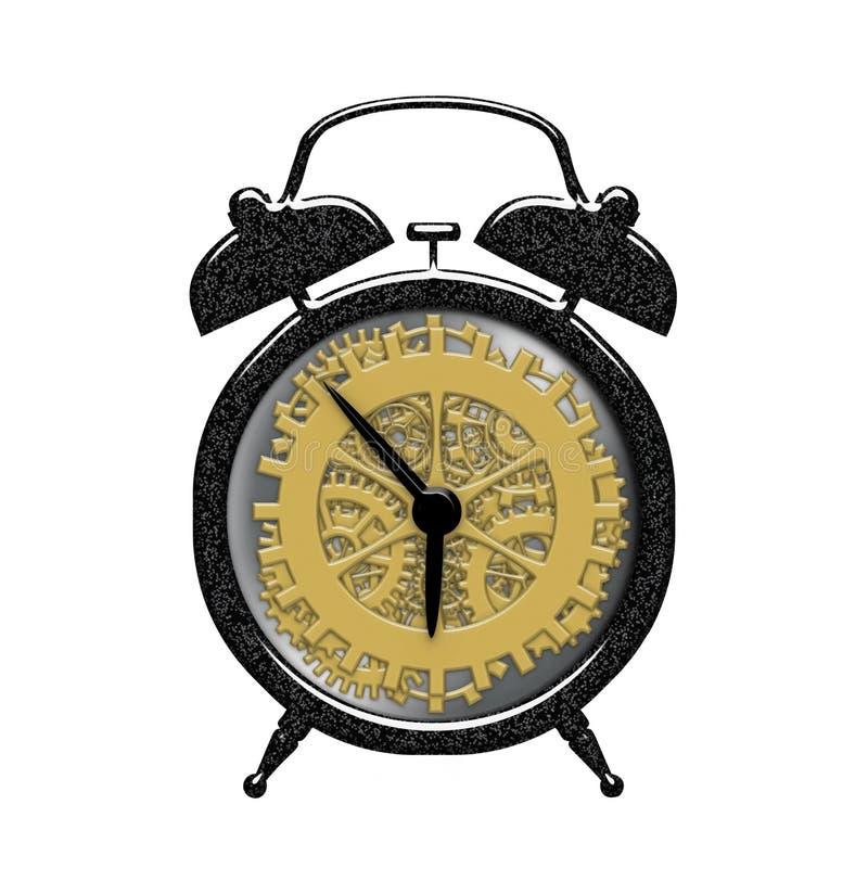 Ретро будильник с видимыми часами шестерни работает внутренность изолированная над белизной иллюстрация вектора