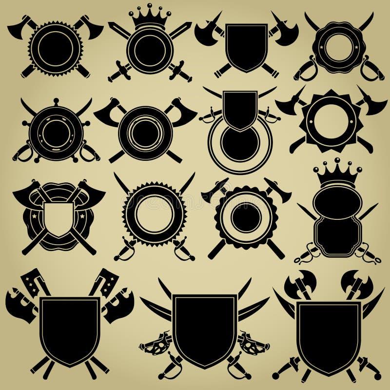 Ретро введенные в моду уплотнения с пересеченными шпагами и осями иллюстрация вектора