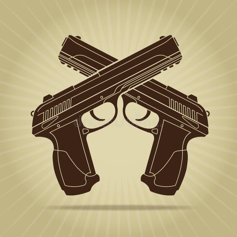 Ретро введенный в моду пересеченный силуэт пистолетов иллюстрация вектора