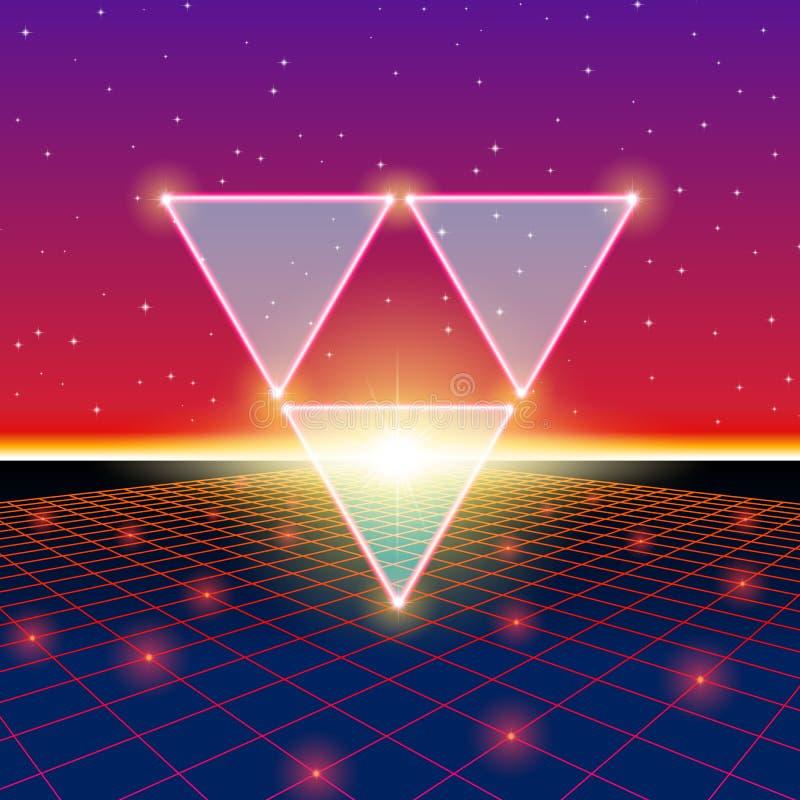 Ретро введенный в моду футуристический ландшафт с треугольниками и сияющей решеткой бесплатная иллюстрация