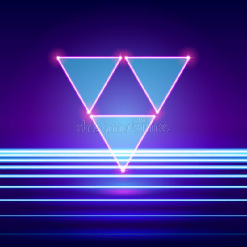 Ретро введенный в моду футуристический ландшафт с треугольниками и сияющим основанием бесплатная иллюстрация