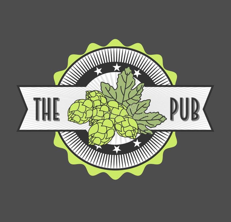 Ретро введенный в моду ярлык пива, для Пива Дома, Brewing Компании, паба, бара иллюстрация вектора