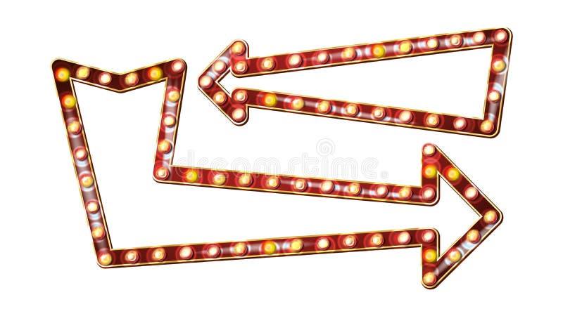 Ретро вектор афиши стрелок Сияющая доска знака света стрелки Реалистическая рамка лампы блеска Винтажное загоренное золотое иллюстрация штока