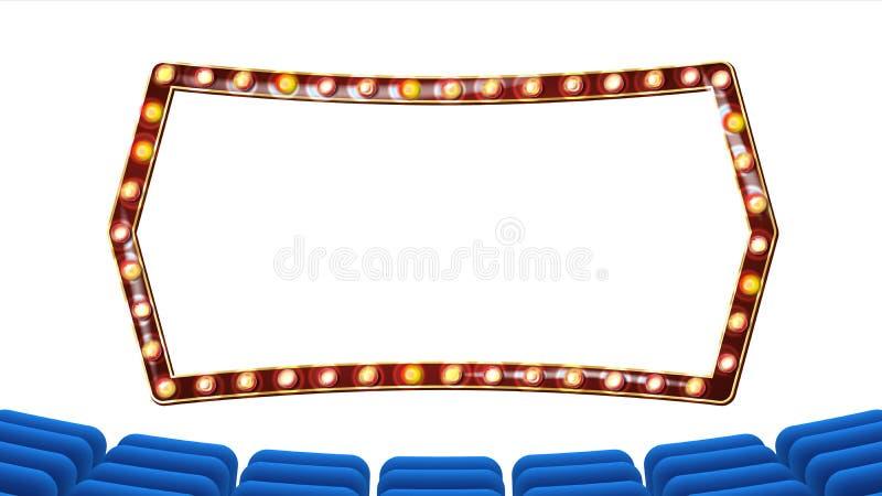 Ретро вектор кино Занавес театра, электрические лампочки рамки голубое silk тканье Сияющее ретро светлое знамя дополнительный илл иллюстрация вектора