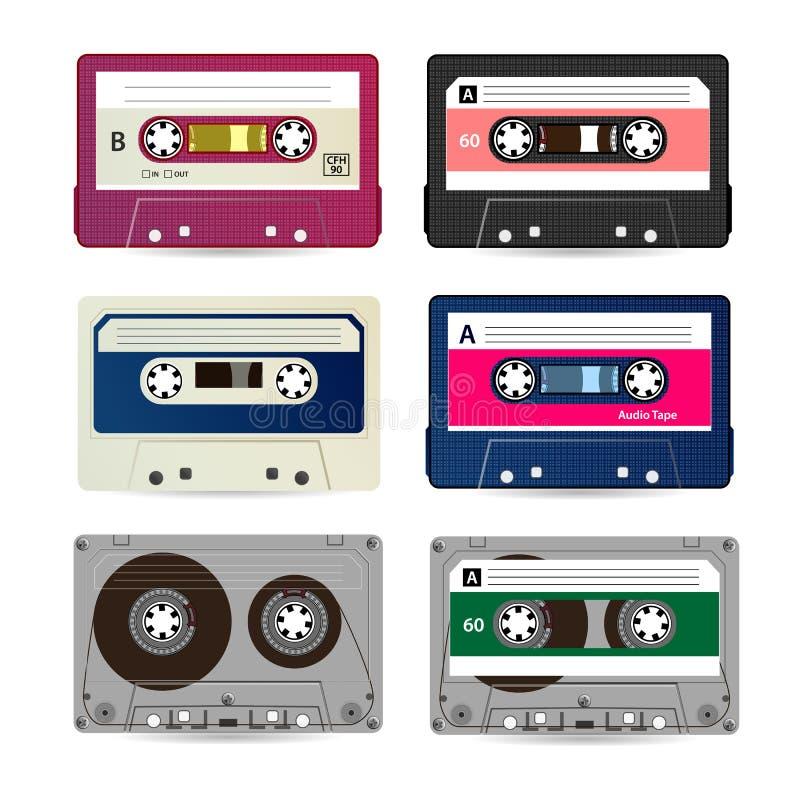 Ретро вектор магнитофонной кассеты Собрание различных красочных лент музыки белизна изолированная предпосылкой иллюстрация штока