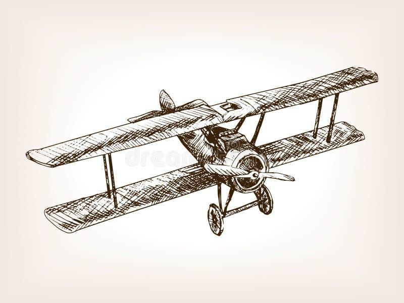 Ретро вектор стиля эскиза самолета нарисованный рукой бесплатная иллюстрация