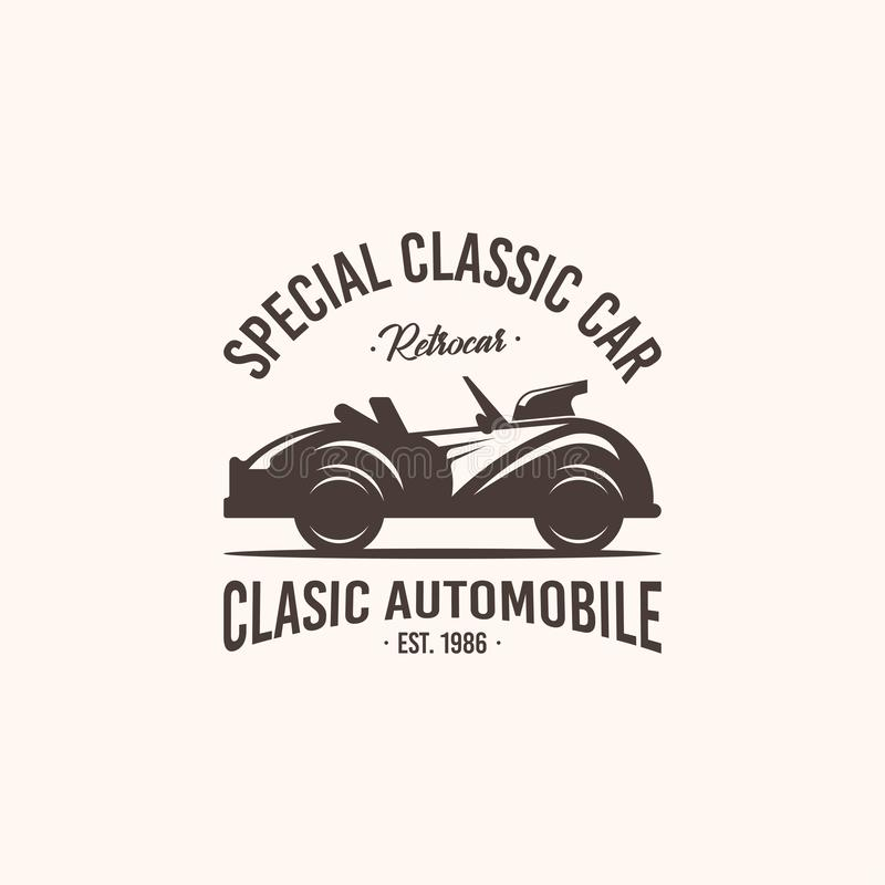 Ретро вектор шаблона логотипа автомобиля Винтажная концепция логотипа автомобиля бесплатная иллюстрация