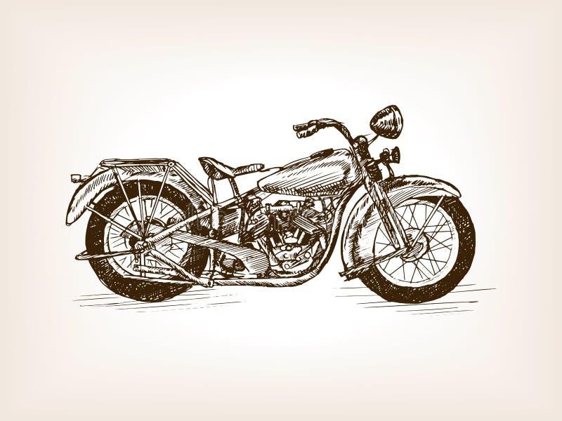 Ретро вектор эскиза мотоцикла нарисованный рукой иллюстрация штока