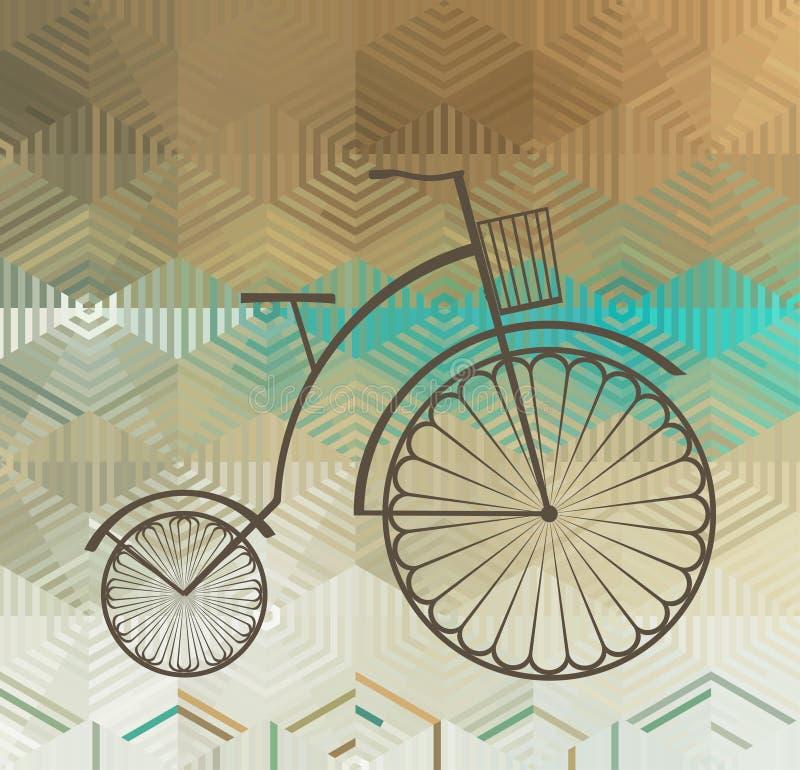Ретро велосипед на предпосылке цвета бесплатная иллюстрация