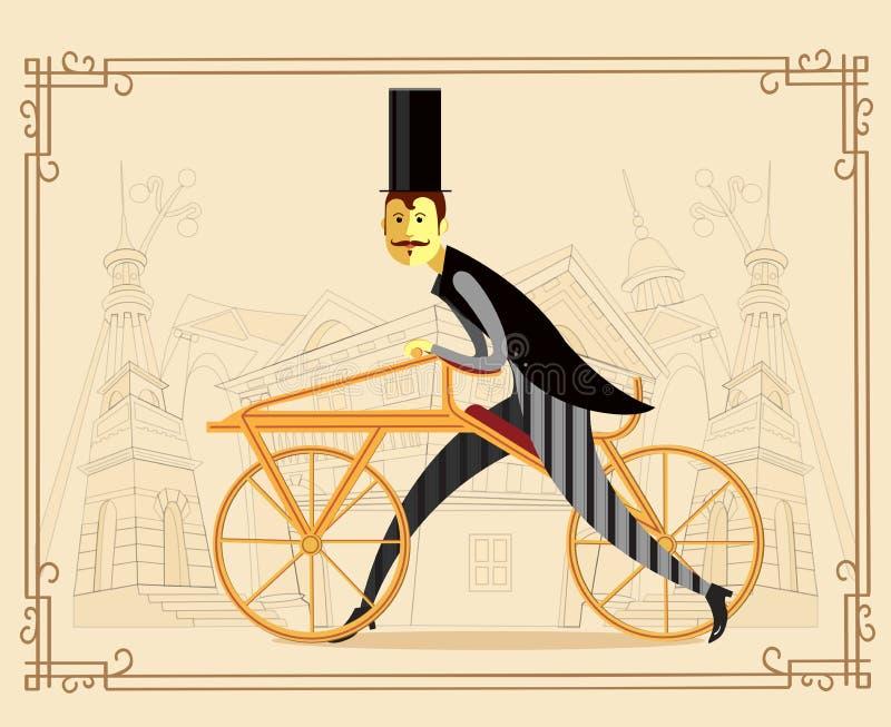 Ретро велосипед - лошадь draisienne или хобби также вектор иллюстрации притяжки corel иллюстрация вектора