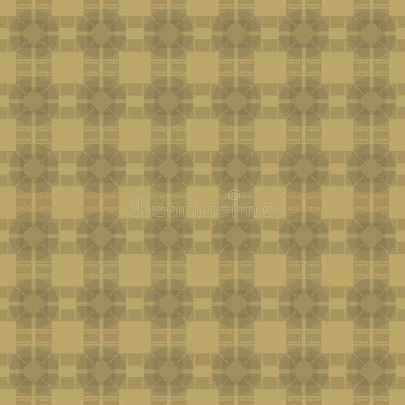 Ретро винтажная бронзовая предпосылка золота с квадратами и косоугольники орнаментируют картину вектора партера безшовную иллюстрация вектора