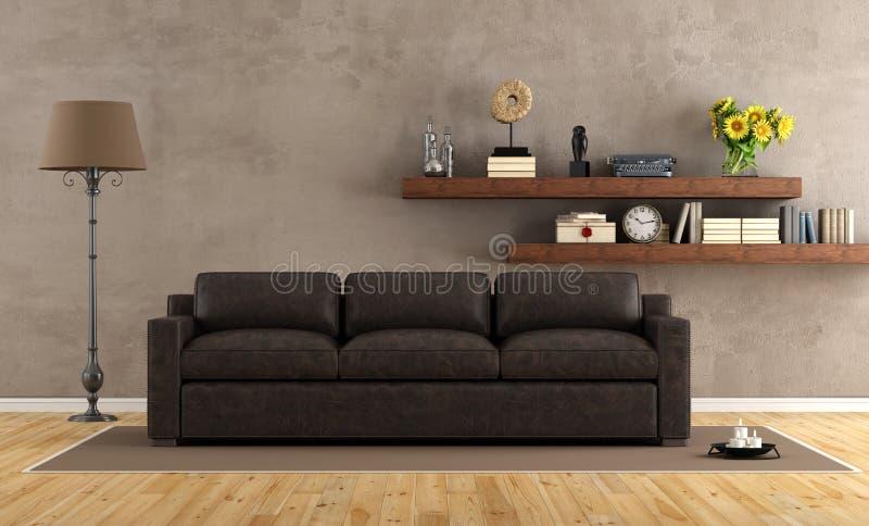 Ретро винтажная живущая комната с кожаной софой иллюстрация штока