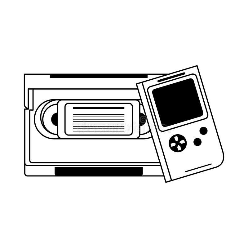 ретро-винтажная игра тетрис карикатура в черно-белом иллюстрация штока