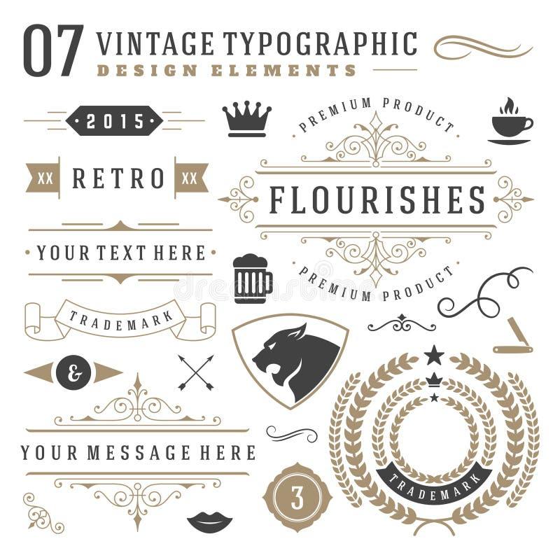 Ретро винтажные типографские элементы дизайна иллюстрация вектора