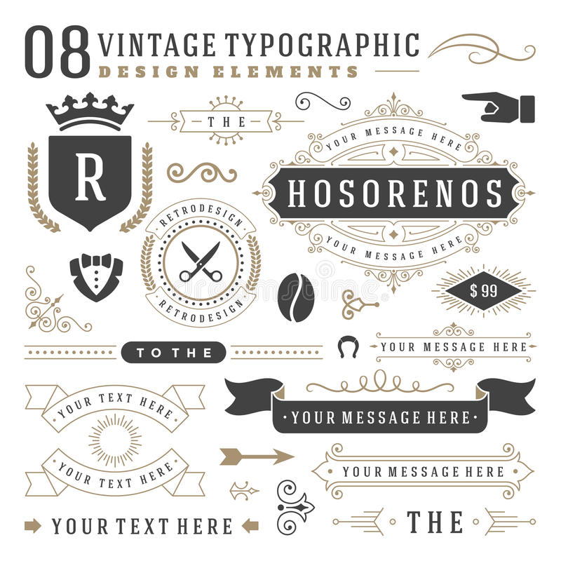 Ретро винтажные типографские элементы дизайна бесплатная иллюстрация