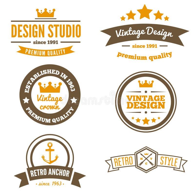 Ретро винтажные установленные Insignias или логотипы вектор бесплатная иллюстрация