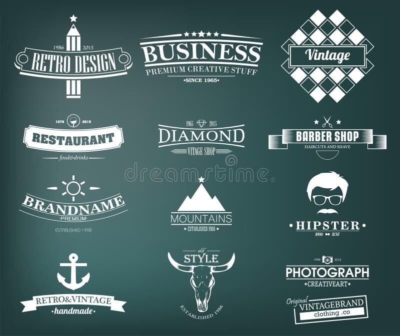 Ретро винтажные установленные Insignias или логотипы конструкция легкая редактирует элементы для того чтобы vector иллюстрация вектора