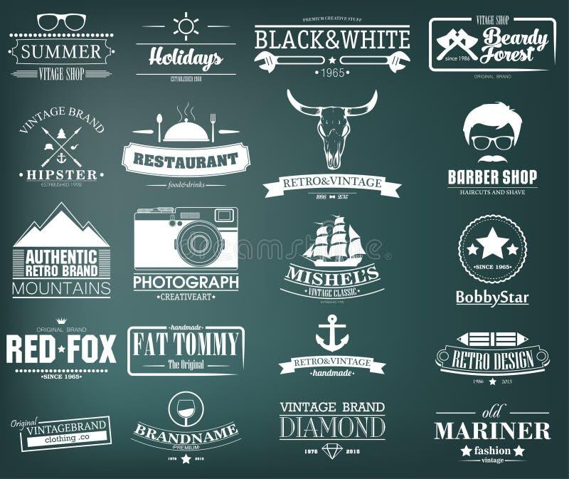 Ретро винтажные установленные Insignias или логотипы конструкция легкая редактирует элементы для того чтобы vector иллюстрация штока