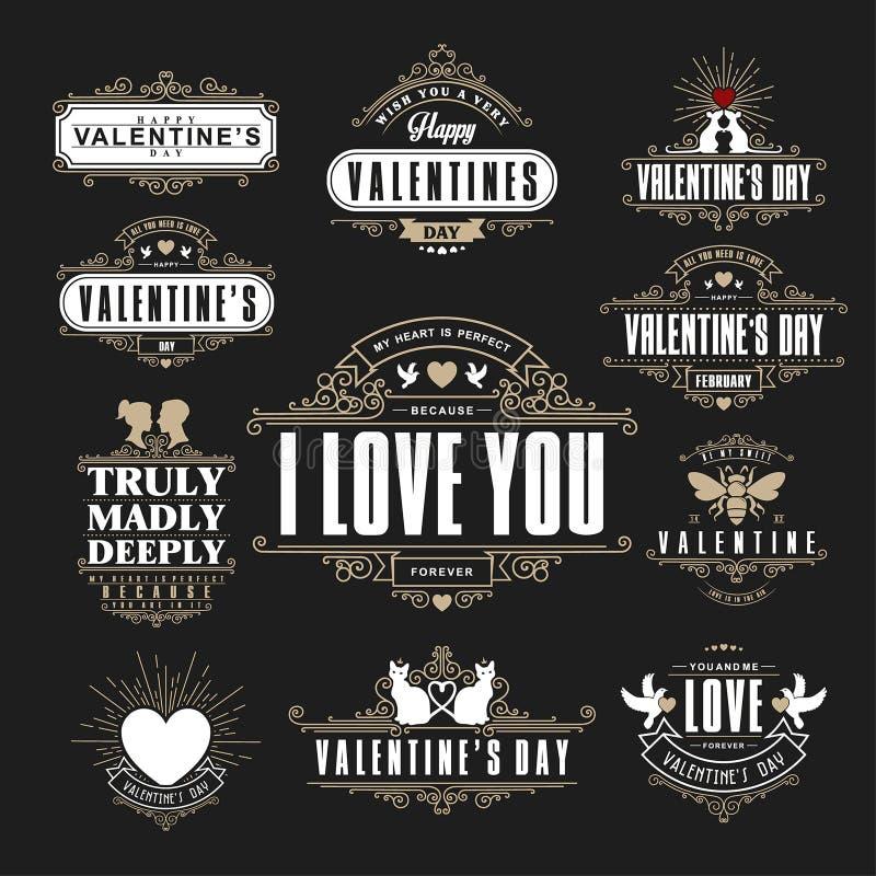 Ретро винтажные Insignias или логотипы установили на день валентинок Vec бесплатная иллюстрация